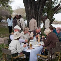 Picnic lunch on an island in the Zambezi - near Tongabezi